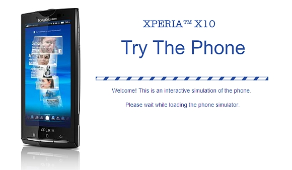Want to try out the Xperia X10? Here's a nifty simulation