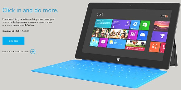 Microsoft Surface RT gets priced from RM1,549