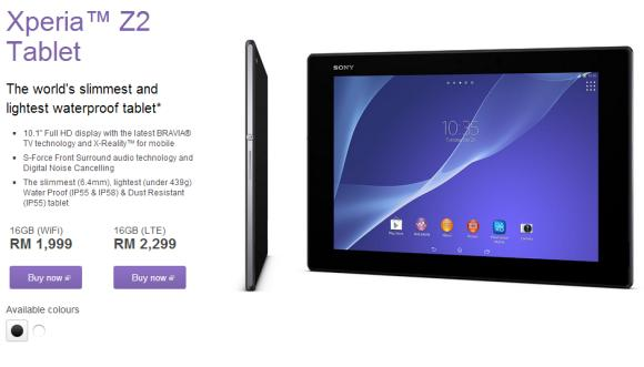 Ultra Slim Sony Xperia Z2 Tablet goes on sale in Malaysia