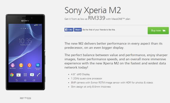 Maxis offers Sony Xperia M2 from RM339 on MaxisONE Plan