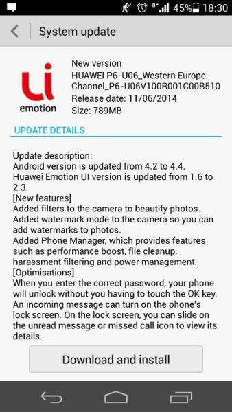 Huawei updates Ascend P6 to Android 4 4 2 KitKat