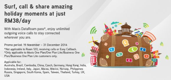 Maxis offers unlimited data and voice calls while roaming for RM38
