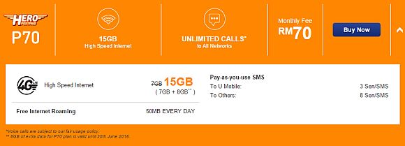 U Mobile's Hero Postpaid now offers 15GB of data at RM70/month