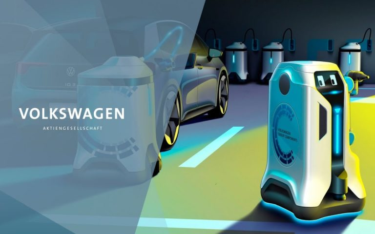 Volkswagen is working on a EV-charging robot, complete with R2-D2 sounds and eyes of its own